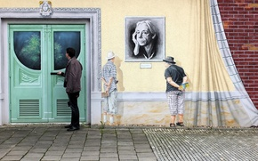 Picture wall, graffiti, Germany, Dresden, the door, Germany, Dresden