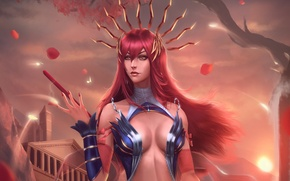 Wallpaper girl, chest, red, MAG, lana solaris, art