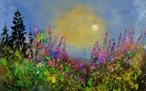Picture the sky, the sun, landscape, flowers, nature, blue, painting