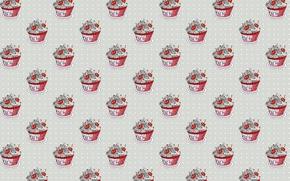 Picture cream, cherry, sweet, berries, cupcake, cherry