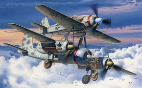 Wallpaper ju 88, aviation, ww2, painting, airplanes, art, fw 190, Mistel, war