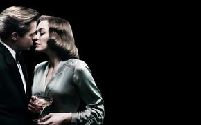 Picture wine, glass, kiss, pair, Brad Pitt, Brad Pitt, black background, poster, drama, military, Marion Cotillard, …