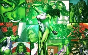 Picture white, purple, green, hair, costume, gloves, Hulk, MARVEL, Red Hulk, She-Hulk, She-hulk, Jennifer Walters, Jennifer …