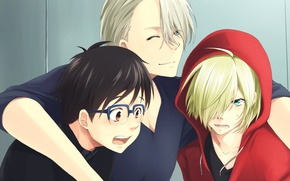 Picture anime, art, skaters, guys, three, Yuri on Ice, Yuri on the ice