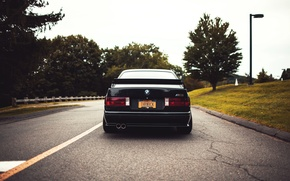 Picture road, black, tuning, BMW, BMW, black, tuning, E30