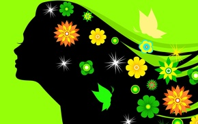 Wallpaper flowers, girl, silhouette, eyelashes, green background, hair