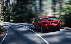 Picture forest, speed, track, car, Mazda 3