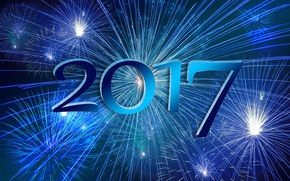 Wallpaper blue, blue, night, 2017, new year, lights, salute, fireworks, new 2017, background, holiday, figures, date, ...