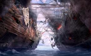 Picture sea, ships, art, battle, Dragon Eternity, Board, dragons of eternity, naval battle