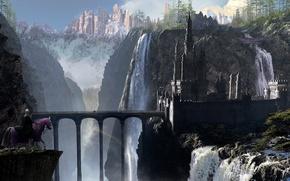Picture bridge, castle, horse, art, rider, arch, waterfalls