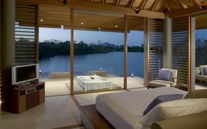 Picture interior, bedroom, water illa