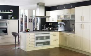 Picture color, interior, kitchen, furniture, black wall