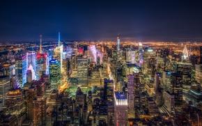 Wallpaper night, lights, New York, skyscrapers, panorama, USA, megapolis