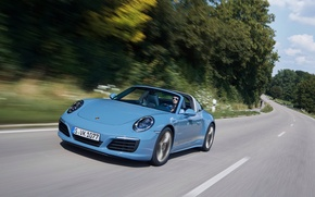 Picture road, auto, speed, 911, Porsche, Porsche, Targa 4S