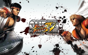 Picture wallpaper, blood, game, street fighter, punch, force, Ken, Street Fighter, Ryu, gloves, kimono, martial arts, …
