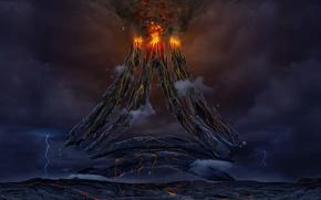 Picture fiction, the volcano, art, lava