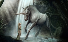 Picture forest, girl, horse, waterfall, art, unicorn, horn, kenbarthelmey