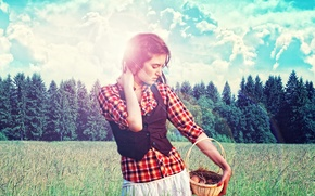 Picture forest, girl, basket, farmer