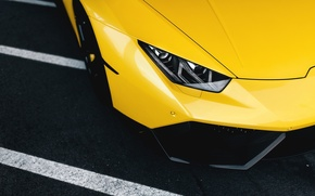 Picture Lamborghini, Front, Yellow, Supercar, Wheels, Huracan, LP610-4