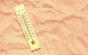 Picture sand, heat, thermometer