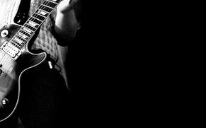 Picture white, background, black, guitar, Sepia, Guitar, Guitarist