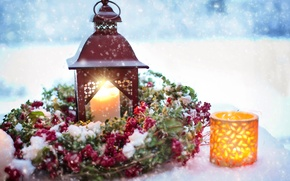 Picture snow, holiday, candles, flashlight, New year, decoration, wreath