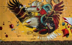 Picture wall, eagle, grafiti