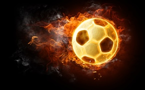 Picture the ball, football, black background, fire