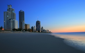 Picture sea, beach, building, the evening