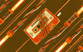 Picture orange, wire, cassette, audio