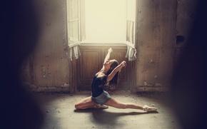 Picture girl, legs, woman, dust, model, bokeh, window, room, female, ballet, posture, gymnastics, ballerina