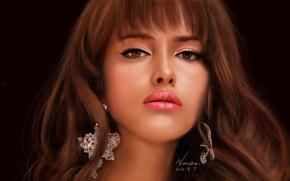Picture girl, face, the dark background, earrings, art