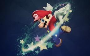 Wallpaper stars, game, Mario
