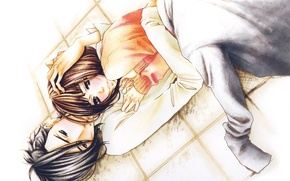 Picture love, hugs, pair, floor, blush, jacket, students, Say i love you, Yamato Kurosawa, Mei Tachibana, …