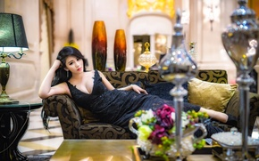 Picture look, girl, style, figure, dress, lies, hall