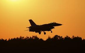 Picture fighter, silhouette, flight, Fighting Falcon, F-16C