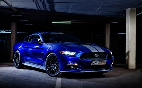 Picture Mustang, Ford, Blue, 5.0