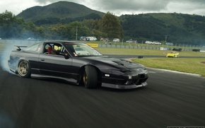 Picture car, mountains, Nissan, drift, black, chuki, 240