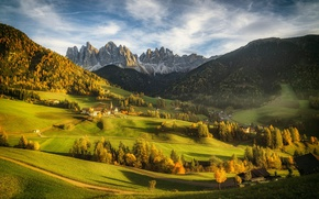 Picture mountains, Alps, Italy, Church, the village