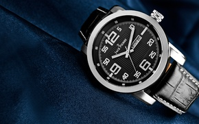 Picture metal, blue, leather, Watch