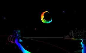 Picture stars, night, city, the city, the moon, rainbow, rainbow, moon, river, river, night, stars, tank, ...