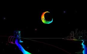 Wallpaper rainbow, river, tub, city, the city, moon, river, night, night, stars, stars, tank, the moon, ...
