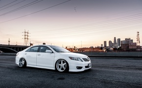Picture white, toyota, Toyota, camry, Camry, stance