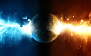 Picture fire, red, blue, planet, sci fi