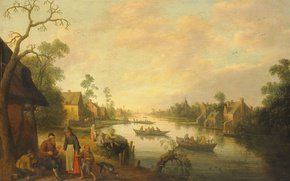 Picture landscape, house, river, people, boat, picture, View Of The River, The Jost Cornelis Dropcloth