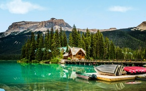Picture forest, trees, mountains, bridge, lake, rocks, boats, pier, Canada, houses, Yoho National Park