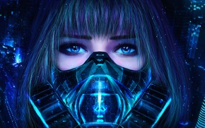 Picture eyes, look, girl, mask, art, respirator, cyberpunk