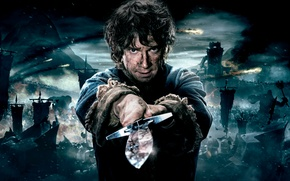 Picture Fantasy, Clouds, Sky, with, The, Wallpaper, Castle, Baggins, Army, Flag, Martin Freeman, Year, Hobbit, Weapons, …
