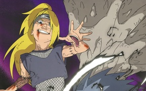 Picture language, blood, Naruto, madness, seams, Akatsuki, ninjutsu, Deidara, evil eye, stuck out his tongue, Naruto …