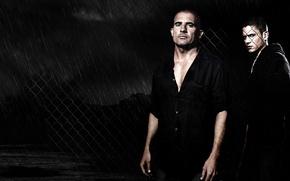 Picture dark, wallpaper, rain, Wentworth Miller, Prison Break, man, fence, tattoo, screen, brothers, wire, darkness, Dominic …